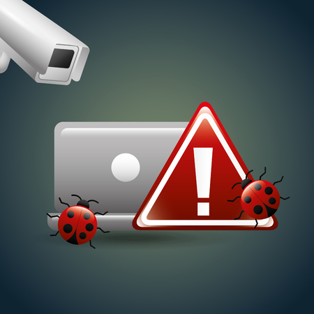 cyber security concept laptop alert camera bugs warning vector illustration Illustration
