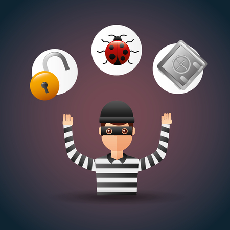Cyber security thief with safety box bug and padlock vector illustration.