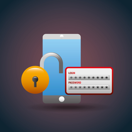 Smartphone cyber security login password vector illustration.