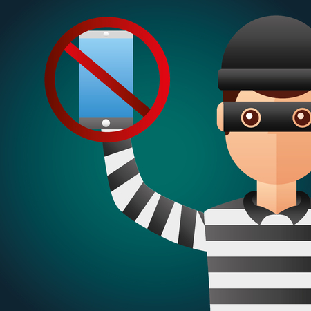 Cyber security thief holding mobile prohibited vector illustration. Illustration