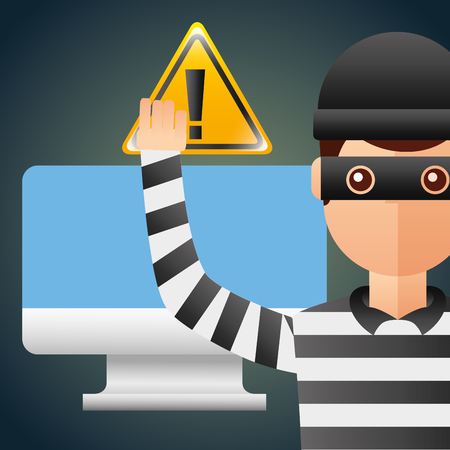 Cyber security thief hacker computer and alert sign virus vector illustration. Illustration