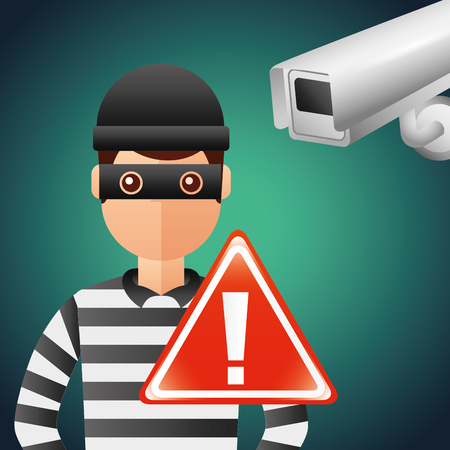 Cyber security thief camera surveillance warning sign vector illustration. 向量圖像