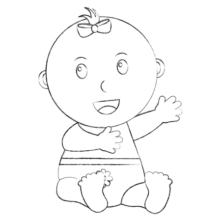 cute little baby girl sitting with diaper vector illustration sketch Illustration