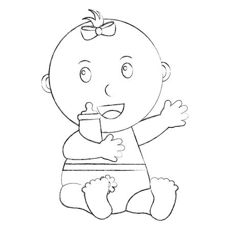 cute little baby girl sitting holding bottle milk vector illustration sketch