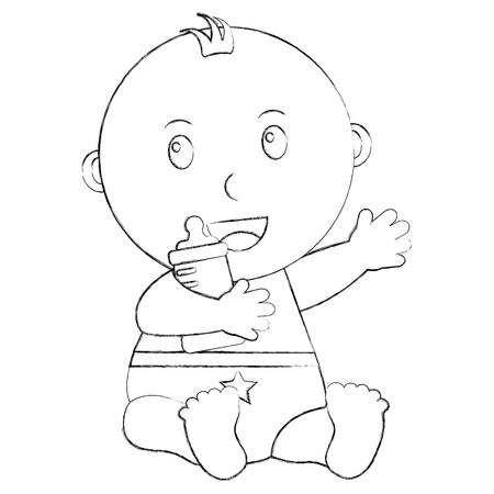 cute little baby boy sitting holding bottle milk vector illustration sketch Ilustração
