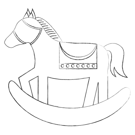 wooden rocking horse toy play childs vector illustration sketch