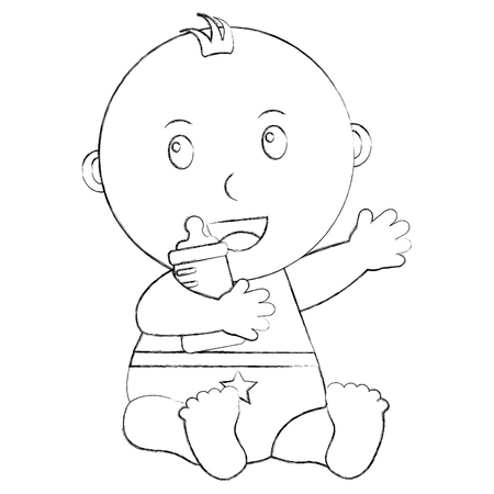 Nettes kleines Baby, das Flaschenmilchvektor-Illustrationsskizze halten sitzt Standard-Bild - 99881886