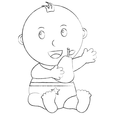cute little baby boy sitting holding a pear vector illustration sketch