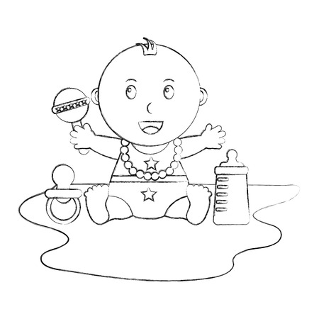 cute little baby boy sitting pacifier rattle and bottle vector illustration sketch Illustration