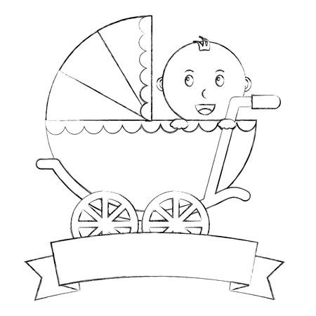 cute little boy in pram transport emblem baby shower vector illustration sketch