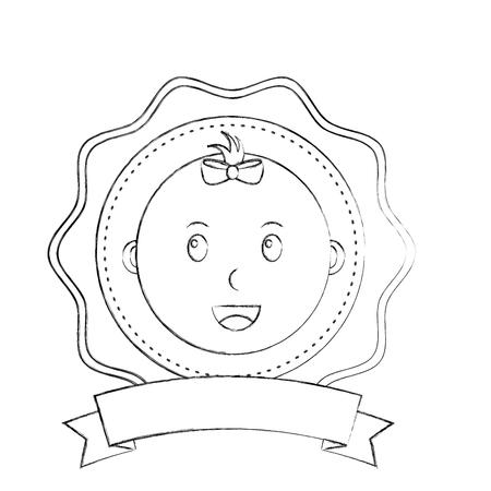 label baby shower face little baby girl vector illustration sketch