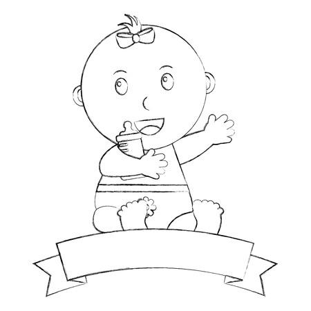 cute little baby girl sitting holding bottle milk emblem vector illustration sketch
