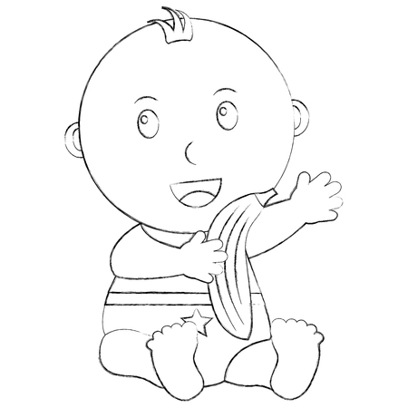 cute little baby boy sitting with a banana vector illustration sketch