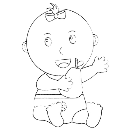 cute little baby girl sitting with a pear fruit vector illustration sketch