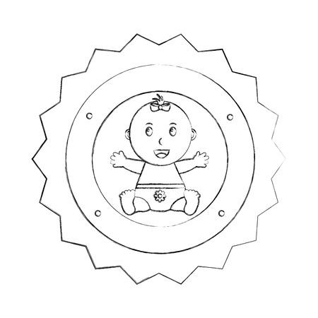cute little girl sitting happy label baby shower vector illustration sketch