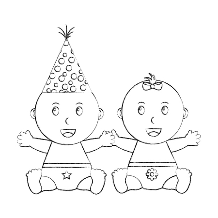 cute little baby boy and girl sitting vector illustration sketch Ilustrace