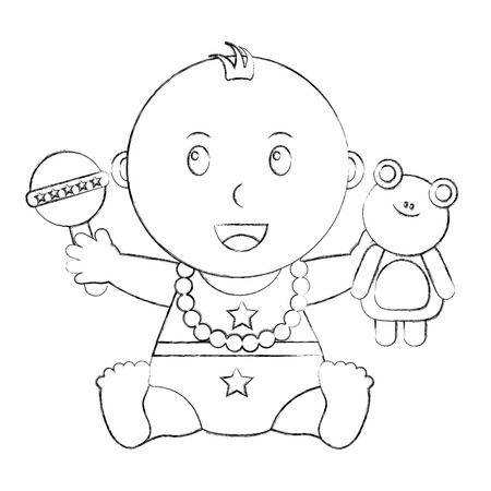 cute little baby holding frog and rattle toys vector illustration sketch
