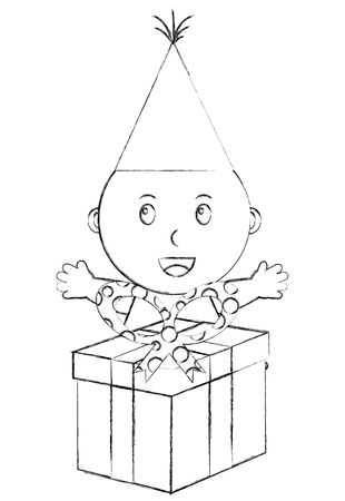 cute little baby boy with gift box party vector illustration sketch