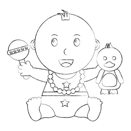 cute little baby boy sitting with duck and rattle toys vector illustration sketch