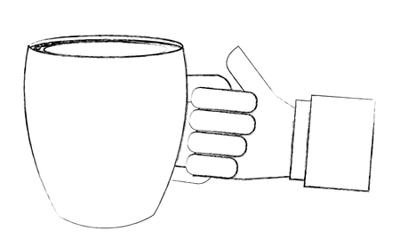 hand holding coffee cup beverage fresh vector illustration sketch