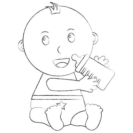 cute little baby sitting holding bottle milk vector illustration sketch