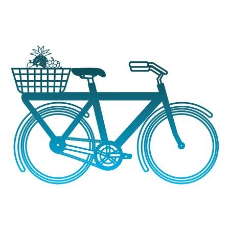 vintage bycicle with basket flowers vector illustration degraded blue color