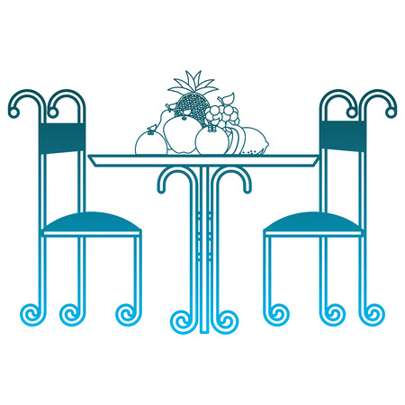 vintage table delicious fruits and chairs vector illustration degraded blue color