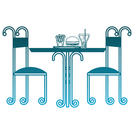 vintage restaurant table fast food and chairs vector illustration degraded blue color