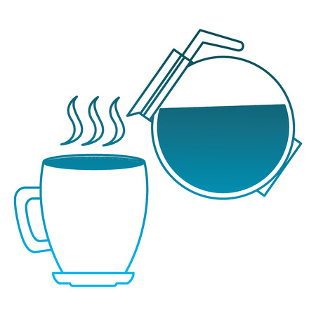 hot coffee cup and maker beverage vector illustration degraded blue color