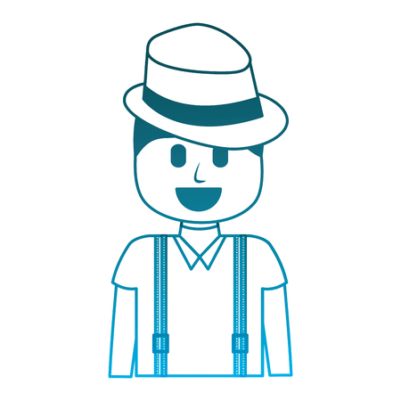 hipster man wearing hat and suspenders vector illustration degraded blue color