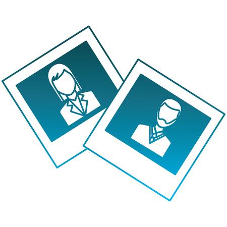 fotogalerij man en vrouw afbeeldingen vector illustratie aangetast blauwe kleur Stock Illustratie