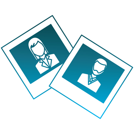 photo gallery man and woman images vector illustration degraded blue color Ilustração