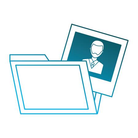 folder and man photo gallery design vector illustration degraded blue color Çizim