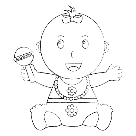 cute little baby girl holding toy rattle vector illustration sketch