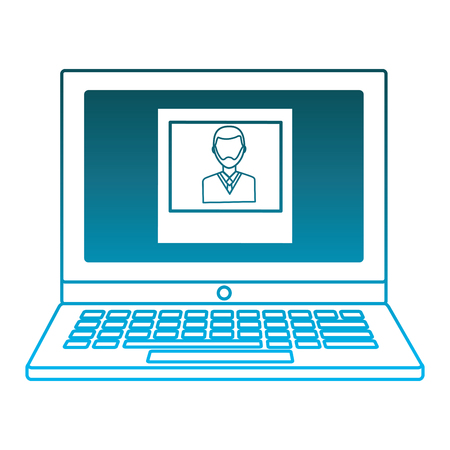 laptop with man photo on screen vector illustration degraded blue color