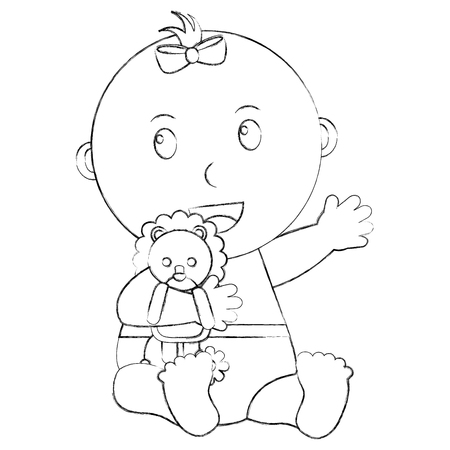 cute little baby girl embraced lion toy vector illustration sketch Stock fotó - 99881921