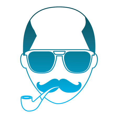 hipster face bald man mustache and eyeglasses smoking pipe vector illustration
