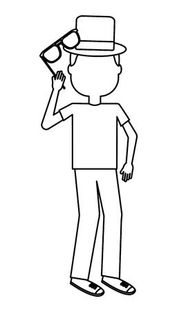 silhouette man holding eyeglasses character vector illustration outline