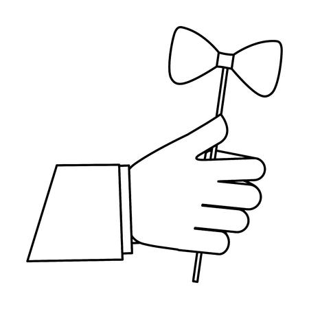 hand holding hipster bow tie in stick vector illustration outline Illustration