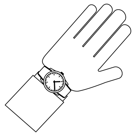 hand with wrist watch accessory vector illustration outline