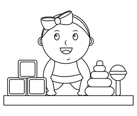 baby shower little girl blocks rattle and rings vector illustration outline