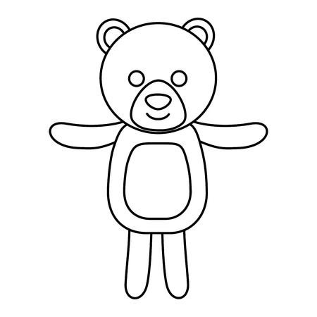 cute bear teddy toy children vector illustration outline