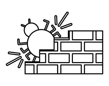 cyber security virus bug firewall vector illustration outline