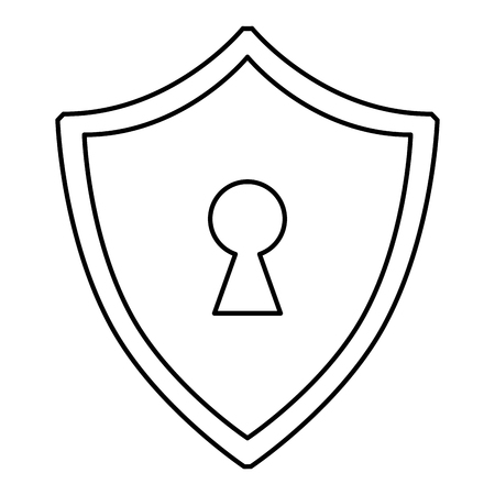 cyber security shield protection keyhole data vector illustration outline