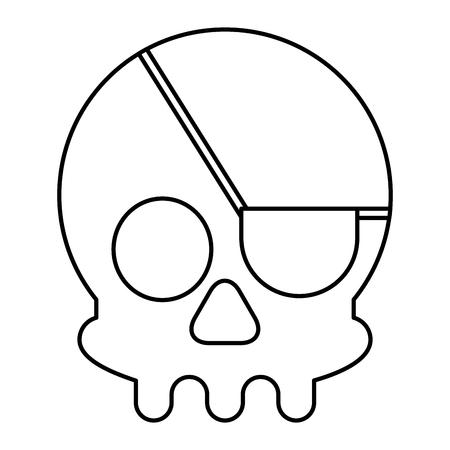 cyber security skull piracy danger vector illustration outline