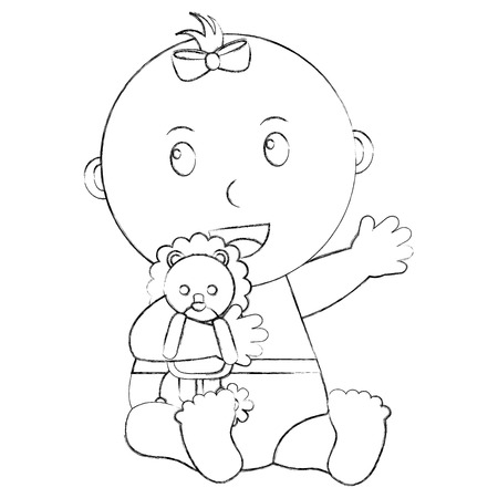 cute little baby girl embraced lion toy vector illustration sketch