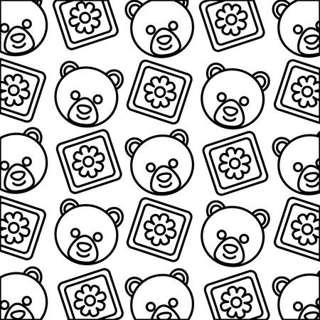 baby shower head bear teddy and blocks decoration pattern vector illustration outline Illustration