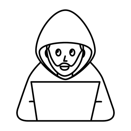 cyber security hacker beard character crime laptop computer vector illustration outline