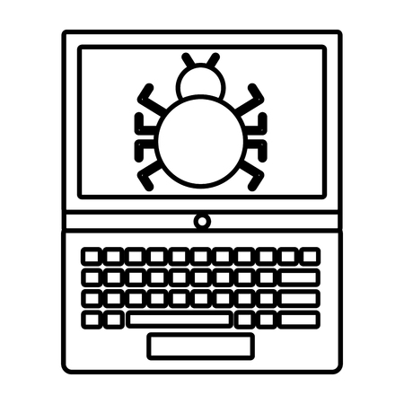 A cyber security laptop computer infected bug vector illustration outline Illustration