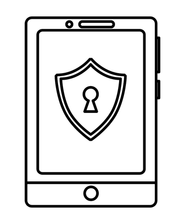 cyber security smartphone shield protection technology vector illustration outline